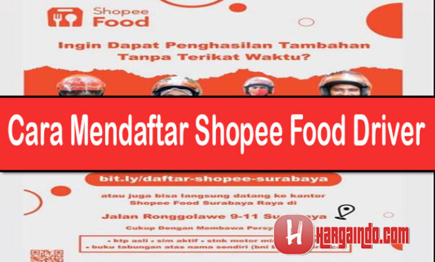 Cara Mendaftar Shopee food Driver